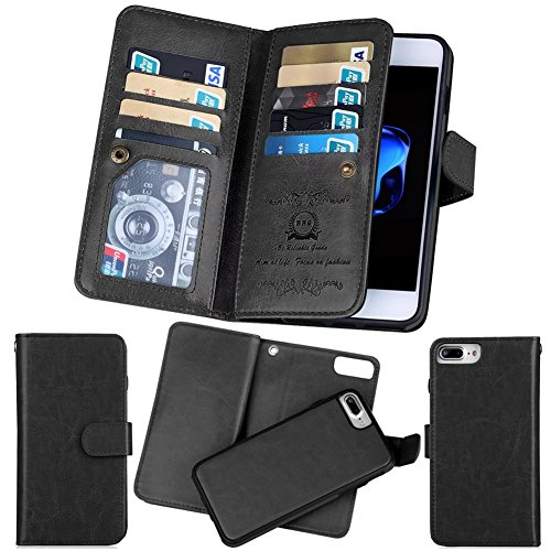 iPhone 8 Plus Wallet Case, SOUNDMAE Magnetic Detachable Premium PU Leather Wallet Case 2in1 Removable Protective Flip Cover With Card Slot Cash Pocket Hand Strap for iPhone 8 Plus [Black] Black