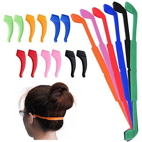 Senhai Anti-Rutsch-Brillen-Halterung mit 6Paar Ohr-Haken, für Kinder und Erwachsene, ideal beim Sport,Schwarz / Rot / Orange / Pink / Blau / Grün, 6 Stück