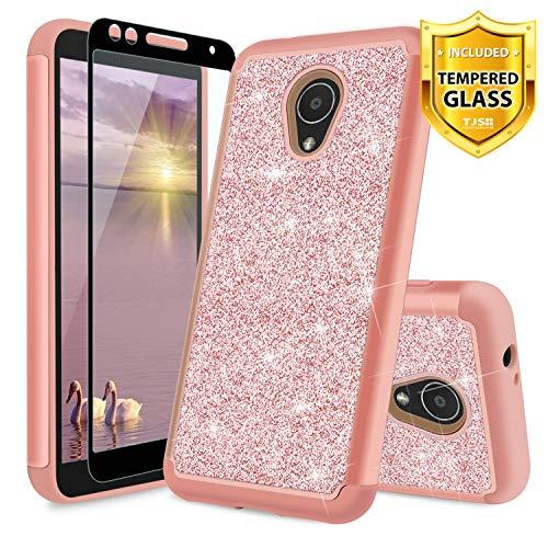 e/Alcatel IdealXtra/Alcatel TCL LX Hülle, mit Displayschutzfolie aus gehärtetem Glas, Glitzer, niedliches Mädchen-Design, strapazierfähige Hybrid-Handyhülle, Rose Gold ()