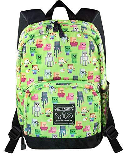 Minecraft Steve Overworld Sprites Green Backpack Polyester Rucksack (Sprite Vanilla)