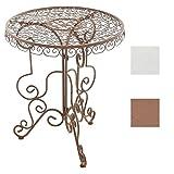 CLP Table de Jardin Ronde Minore en Fer Forgé I Table de Balcon Terrasse de Style Nostalgique Diamètre de 62 cm I Table de Bistrot Design Ancien Marron Antique...