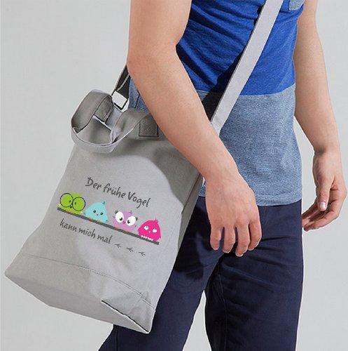 Day Bag Schultertasche für Schule Freizeit Studium passend für großen Ordner - Der frühe Vogel kann mich mal (schwarz) grau