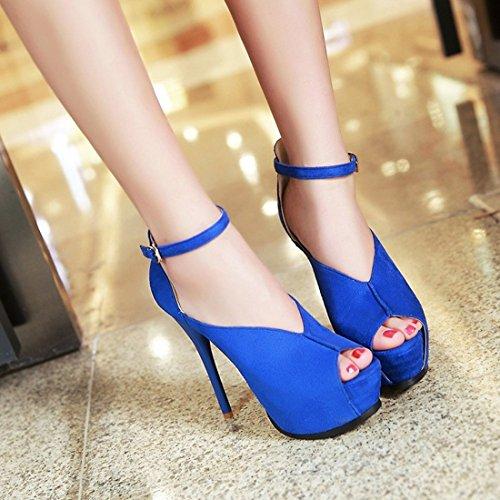 YE Frauen Peep Toe Riemchen High Heels Plateau Stiletto Ankle Strap Pumps mit Schnalle Schuhe Blau