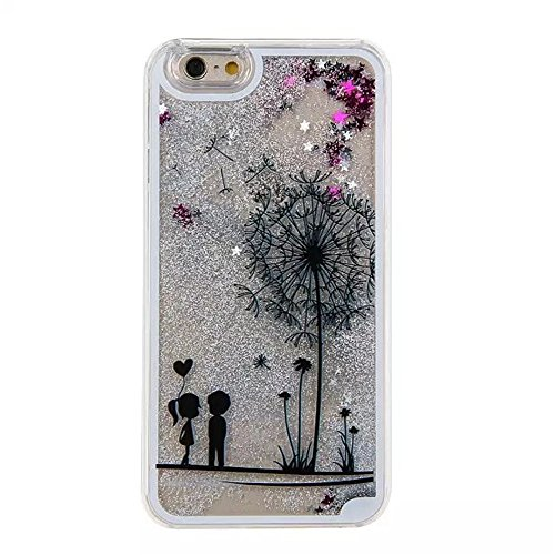 "Price comparison product image iPhone 7 Case [With Free Tempered Glass Screen Protector],Mo-Beauty® iPhone 7 4.7"" inch Glitter Case,Creative Design Flowing Liquid Floating Flowing Bling Shiny Sparkle Glitter Crystal Clear Plastic Hard Case Protective Shell Case Cover For Apple iPhone 7 (Black,Dandelion #1)"