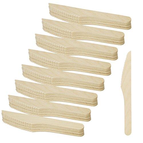 COM-FOUR® 96-teiliges Holzmesser Set, Einwegmesser aus Holz, 16,5 cm (96 Stück - Holzmesser)