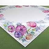 Tischdecke PASTELL BLUMEN / 85 x 85 cm / Moderne Mitteldecke für den Sommer