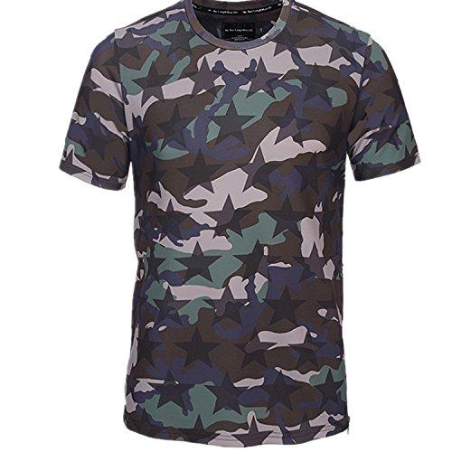 Yonbii Sommer-neue Hiphop-heiße reizvolle Dame-Mann-Oberseiten-Stern-Markierungsfahnen-3D T-Shirts Mens-seitliche Reißverschluss-runde Gelb-2
