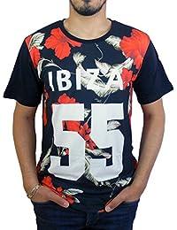 Celebry Tees T-shirt noir IBIZA Flowers Rouge Homme