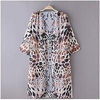 ECYC Frauen-Leopard gedrucktes Chiffon Schal Sommer-Strand-Kleid