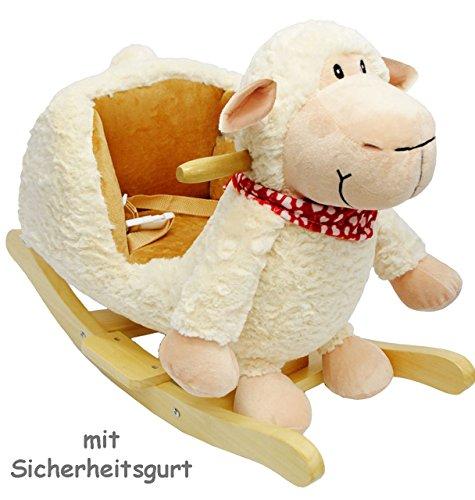 Lamm-gurt (XL Plüsch und Holz Schaukelpferd -