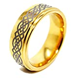 8mm Golden Coloured Tungsten Ring with Celtic Knot Design Wedding Band Size Z+5