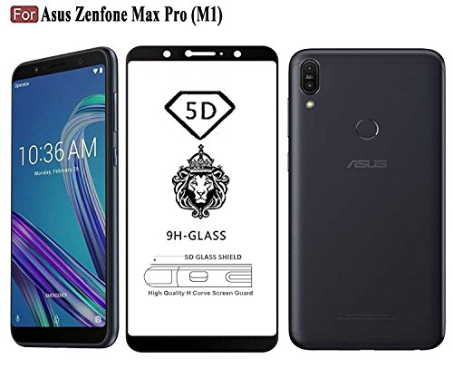 CASE Factory 5D Edge to Edge Tempered Glass Screen Protector for Asus Zenfone Max Pro M1 (Black) with True 1 Year Warranty