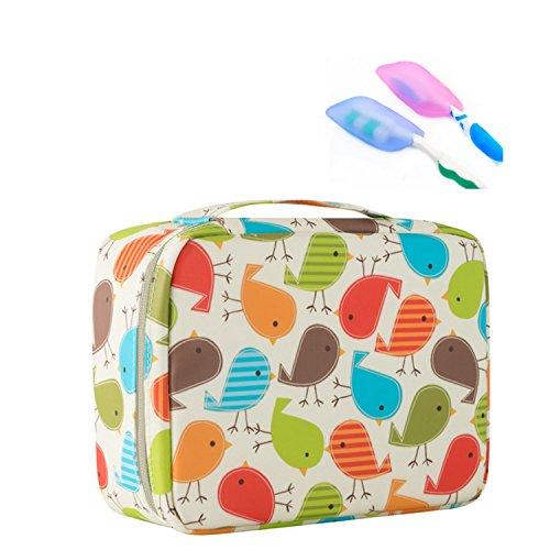 Abaría - 2 piezas Bolsas de aseo (1 x bolsas + 1 x portacepillos de dientes) - Neceseres de viaje impermeable - Make-Up Pouches con animal patrón