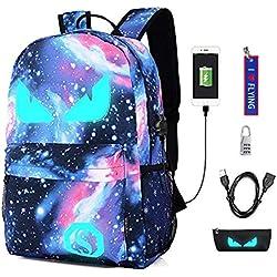 WYCY Anime Cartoon Luminous Backpack mochila de moda con puerto de carga USB y estuche antirrobo de bloqueo y lápiz, mochila escolar unisex Bookbag (Ojos del diablo azul estrellado)