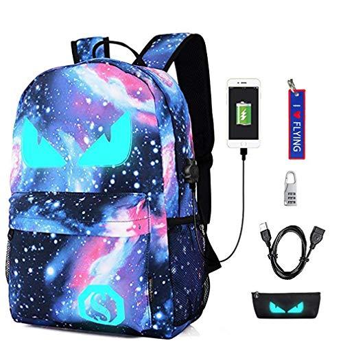 bce0c15309 WYCY Anime Cartoon Luminous Backpack mochila de moda con puerto de carga  USB y estuche antirrobo
