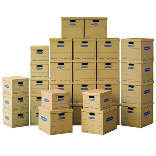 Bankers Box SmoothMove Classic Umzugskartons, ohne Klebeband, klein, 38,1 x 30,5 x 25,4 cm, 10 Stück (7714203) Klein/Mittel 30-Pack