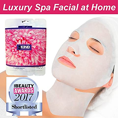 Collagen Face Mask For Both Face And Neck By 5kind-Anti Ageing Sheet Mask And Intensive Hydrating Serum, Plumps, Moisturises And Rejuvenates Skin. Reduces Lines And Wrinkles-Best Value Spa Facial (Pack of