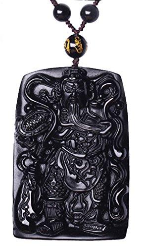 CaLeQi Natural Obsidiana Negra Redonda Colgante Guan Yu grabado collar