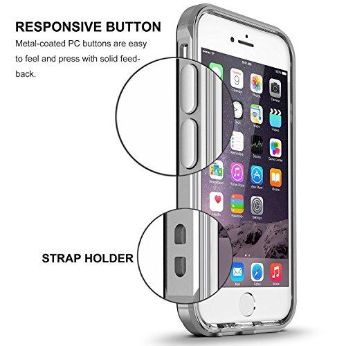Coque iPhone 7, Pasonomi [absorption des chocs] Coque Etui PC Bumper avec dos transparent pour iPhone 7, Gris Gris