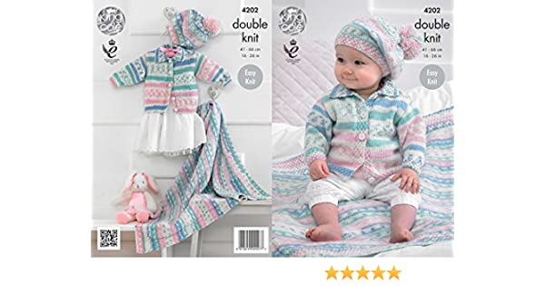 5f20cb1ba964 King Cole 4202 Knitting Pattern Babies Cardigan Blanket and Beret to ...