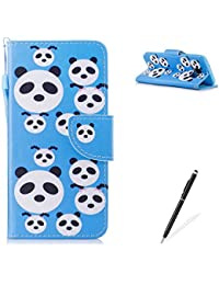 MAGQI Samasung Galaxy S7 Edge PU Premium Leather Phone Cases, Flowers Panda Unicorn Cartoon Pattern Design Cover and [Scratch Proof] Flexible For Samasung Galaxy S7 Edge Flip Wallet Shell-Cute Panda