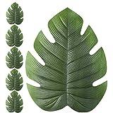 JYCRA Tisch-Sets, Hohe Qualität, Lotus-Blatt oder Tropische Palmenblätter, Wärmedämmung, Öl undurchlässig. Aus rutschsicherem, wasserdichtem PVC. Kunstpflanzen-Tischsets für Ihren Esstisch, PVC, Tropical Palm Leaf, 6 Pcs