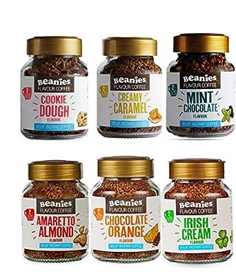 6 Jars of Decaf Flavoured Instant Coffee - Beanies- Chocolate Orange, Chocolate Mint, Cookie Dough, Amaretto, Irish Cream, Creamy Caramel by Beanies