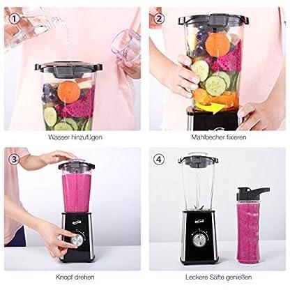 Housmile-Mix-Go-Standmixer-leistungsstarker-Smoothiemaker-mit-Edelstahlmesser-zwei-BPA-freie-Tritan-Trinkflaschen-und-extra-Mahlbecher-300-W-splmaschinenfester-Miniblender-Silber-Schwarz