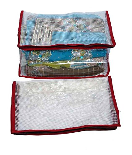 Fashion Bizz Saree Cover In Transparent Net -Set of 2 With Capacity of 10-15 Sarees Each