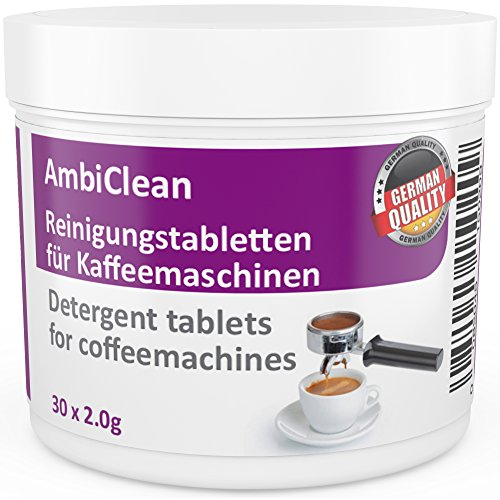 AmbiClean 30 Cleaning Tablets for Coffee Machines Cleaner compatible with Jura Siemens Bosch Nescafe Andrew James Delonghi and many more for Automatic Filter Pad Capsule Machine