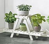 T-FBW Blumenbank Holzregal, 2-schalig, Zimmerpflanzenregal, hellbraun, Innen- oder Außenbereich, Balkon, (Farbe : Weiß)