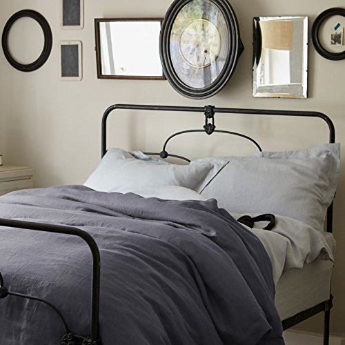 100% Pure French Linen - Double Duvet Cover - Midnight Grey
