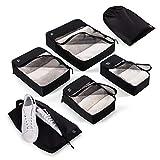 Blumtal 6er Set Packtaschen - 4 Kleidertaschen, 1 Schuhtasche und 1 Wäschesack, robuste Packing Cubes