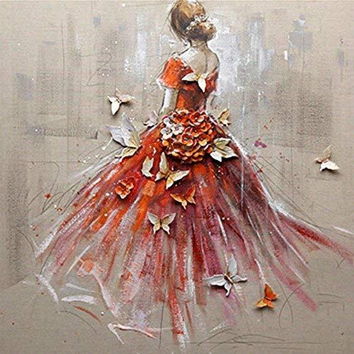 mxjsua 5D Diamant-Malerei Kit DIY durch die Anzahl rund Perlen Kristall Strass Stickerei Kreuzstich Bild Supplies Arts Craft Wandtattoo decor-red Kleid Mädchen 30,5x 30,5cm