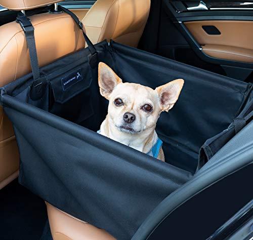 LIONSTRONG Hunde Auto Sitz, kleine bis mittlere Hunde, Hundesitz wasserdicht, Hundedecke +inkl Gratis Sicherheitsgurt für den Hund