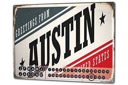 Wandkalender 2019 Jahreskalender Dauerkalender 2020 Kalender 2021 Terminplaner Fotokalender Reisen Küche Austin USA Metall Magnet