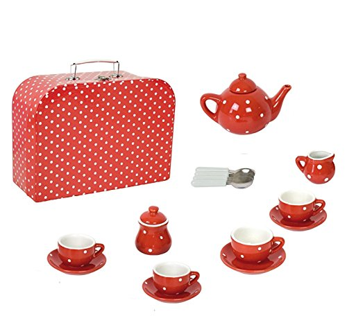 JaBaDaBaDo G12013Porzellan Tee-Set mit Fall Rot, Mehrfarbig