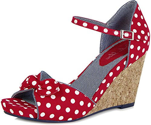 Ruby Shoo MOLLY Vintage Polka DOTS Punkte 50s Riemchen WEDGES / Pumps Rockabilly