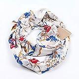 JAGENIE Womens Double Layer Secret Versteckte Reißverschlusstasche Infinity Loop Schal Boho Style Floral Blätter Printed Vintage Winter Ring Kuscheldecke Schal Praktisch