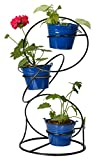 #5: Green Gardenia Iron Circle Shape 3 Plant Stand/ Pot Stand with Planters - Dark Blue