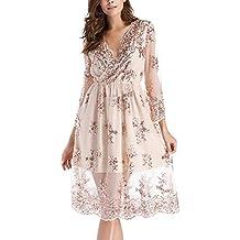 c3a1308397 Mujer Vestidos De Fiesta Corta Lentejuelas Transparentes Otoño Verano  Elegantes Mangas 3 4 V Cuello
