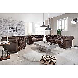 Woodkings® Chesterfield Sofa Set braun 1+2+3 Vintage Echtleder Couchset Bürosofas Polstermöbel Set antik Designsofaset Federkern unikat Herrenzimmer englisches Leder Stilsofa Set