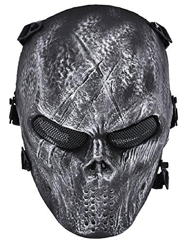 Brille Tragen Halloween Kostüm (ADOO Ghost Skull Airsoft Paintball Vollmaske Militärschutz Halloween Kostüm)