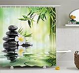 Larona Garten mit Frangipani und Bambus Japanische Entspannung Luxus Reise Bild Muster, Polyester Stoff 180 x 180 cm Duschvorhang Set mit Haken, Grün Weiß Gelb