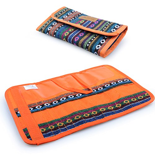 Cutlery Set Bag, 12 Slots Cutlery Storage Bag Portable Organiser Roll for Family Camping Picnic Travel cotton Orange, by LC Prime