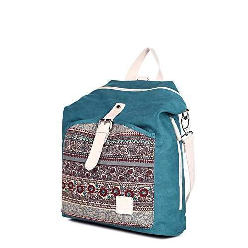 Bwiv Rucksäcke Canvas Unisex Schulrucksack Vintage Schultertasche Daypack Outdoor Backpack Damen Herren Tasche für Retro Reisetaschen Lässige Blau Blau