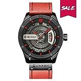 Curren Quartz Uhren Herren, Casual Analoge Quartzuhr, Multifunktionale Militär Sport Wristwatch Männer, Wasserdicht Lederarmband mit Datumsanzeige 8301 (Rot)