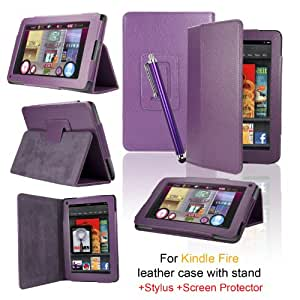 eLifeStore® Kindle Fire PU Leather Case Cover Multi-Function Flip Stand Wallet Book (NOT FOR HD), Bonus: Capacitive Stylus Pen + Screen Protector for Amazon Kindle Fire 7 inch LCD Display Wi-Fi 8GB Android Tablet - 2011 Model, NOT for HD (Purple)