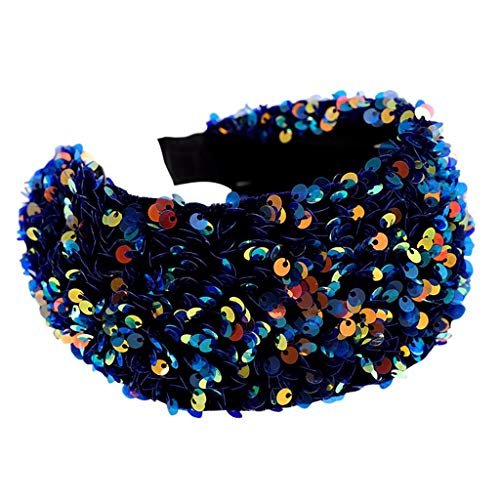 MIRRAY Frauen SüßE Einfache Breitkrempige Pailletten Stirnband Mode Waschen Gesicht Schminken Haarband Sommer Blau