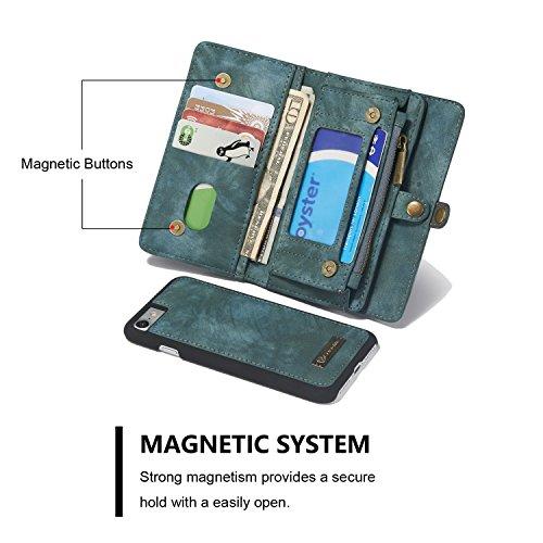 Portefeuille Étui Housse pour iPhone 7,Skitic Coque de Protection Magnétique Détachable en Cuir avec de Logement de Carte Folio Flip Wallet Stand Case Cover pour Apple iPhone 7 - Nior Vert